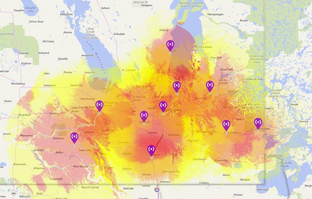 Multi Site Coverage Map | Manitoba Repeater Society